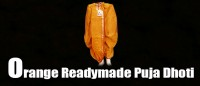 Orange readymade puja dhoti