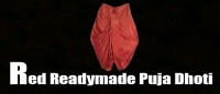 Red readymade puja dhoti